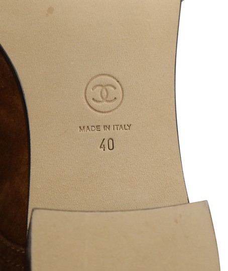Chanel Suede Patent Leather Leather Gold Hardware Brown Boots Image 10