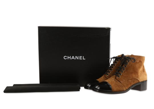 Chanel Suede Patent Leather Leather Gold Hardware Brown Boots Image 11