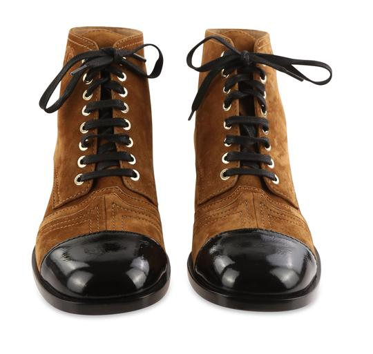 Chanel Suede Patent Leather Leather Gold Hardware Brown Boots Image 2