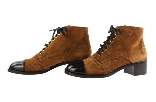 Chanel Suede Patent Leather Leather Gold Hardware Brown Boots Image 4