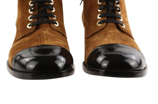 Chanel Suede Patent Leather Leather Gold Hardware Brown Boots Image 5