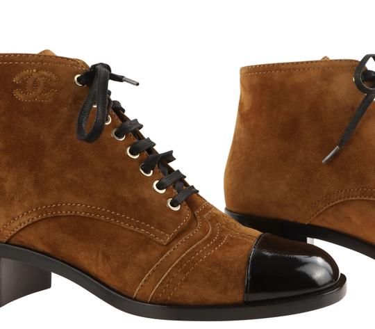 Chanel Suede Patent Leather Leather Gold Hardware Brown Boots Image 8