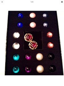 Joan Rivers INTERCHANGEABLE 10 COLORS CABOCHONS CAGED GOLD TONE EARRINGS