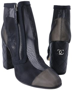 Chanel Mesh See Through black Boots