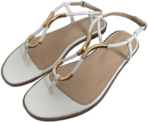 Sergio Rossi Leather Ankle Strap Thong White Sandals