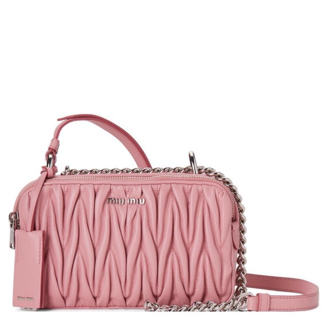 Miu Miu Bandoliera Matelassé Pink Lambskin Leather Cross Body Bag Miu Miu Bandoliera Matelassé Pink Lambskin Leather Cross Body Bag Image 1