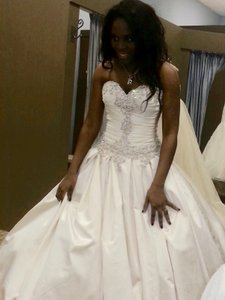 Allure Bridals Ivory Silver Satin 9004 Traditional Wedding Dress Size 12 (L)