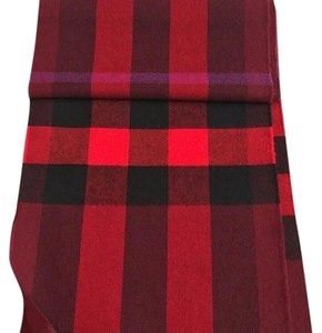 Burberry Burberry Red lash fringe giant check scarf