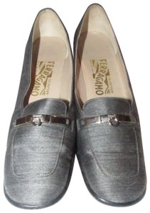 """Salvatore Ferragamo Loafer Style Heels Gancini Over Leather Size 8.5 W 2.5"""" Heel Edgy Look denim fabric/chrome Pumps"""