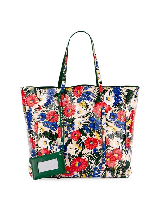 Item - Everyday Floral Animation Green White Lambskin Leather Tote