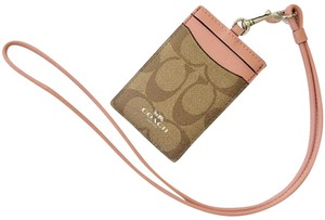 Coach Coach Pink/Tan/Brown/Silver Card Holder Id Card Wristlet Necklace wit