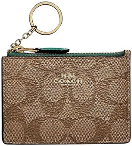 Coach Chain Pouch Wallet Change Id Pochette Travel Keys Phone Purse Charm Gift Unisex Cards Wristlet in blue/turquoise/brown/gold