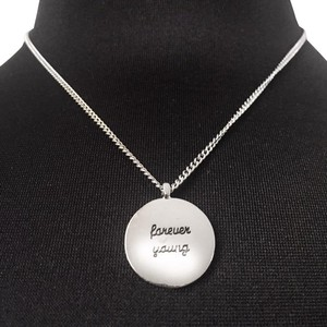 "BCBGeneration toned ""forever young"" words Circle round pendants short chain"