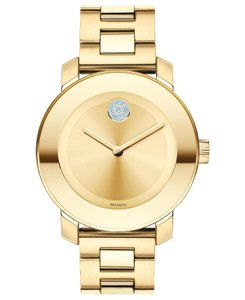 Movado Bold Stainless Steel Crystal Dot Midsize Womens 3600104