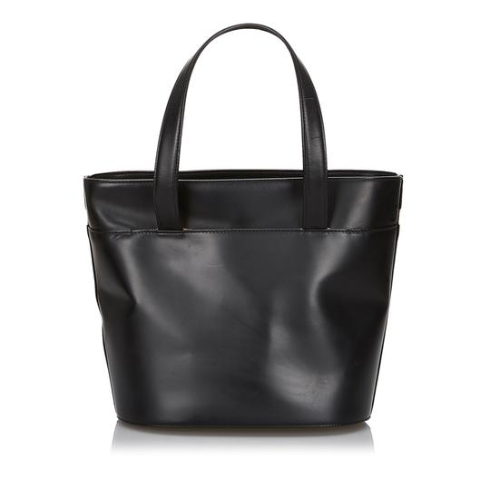 Burberry 9hbuto007 Vintage Leather Tote in Black Image 2