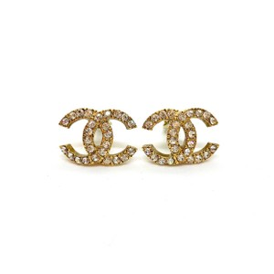 Chanel Classic Vintage Large CC Gold Crystal Clip On
