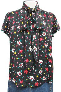 Marc Jacobs Silk Floral Buttons Top Black