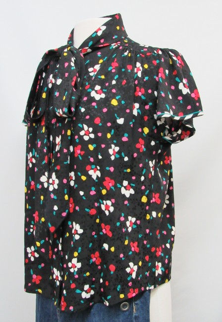 Marc Jacobs Silk Floral Buttons Top Black Image 1