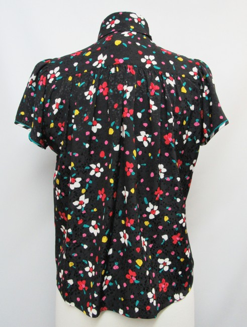 Marc Jacobs Silk Floral Buttons Top Black Image 3