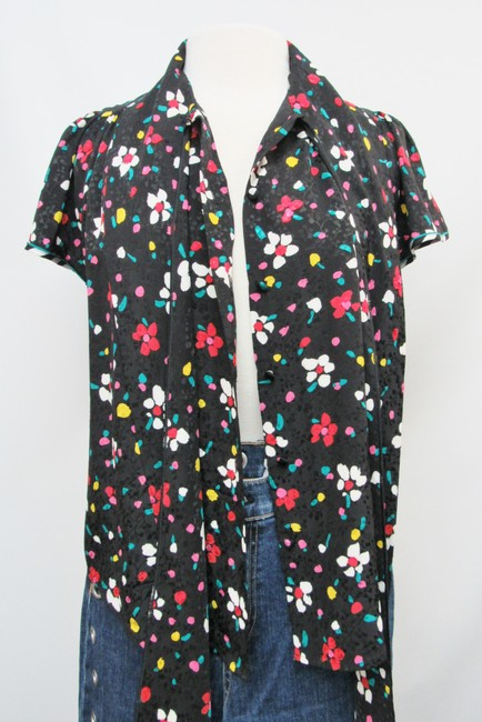 Marc Jacobs Silk Floral Buttons Top Black Image 6