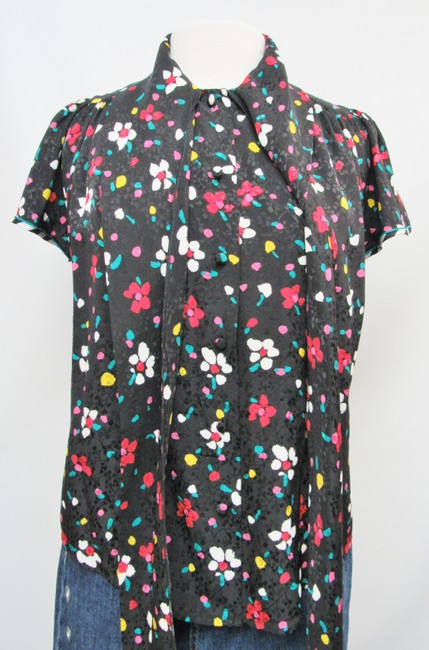 Marc Jacobs Silk Floral Buttons Top Black Image 7