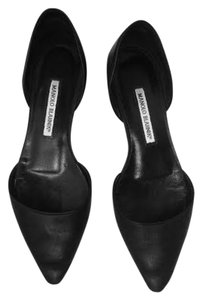 Manolo Blahnik Leather D'orsay Black Flats