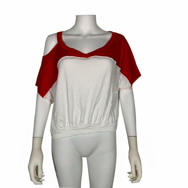 Item - Red L Shirt White Cropped New Field Goal Blouse Size 12 (L)
