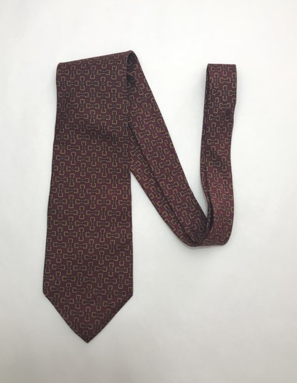 Dior Red and Yellow Christian with Horse Bit Print Tie/Bowtie Image 1