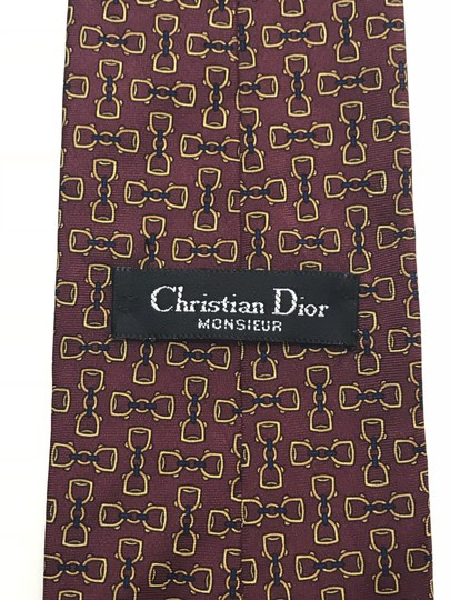 Dior Red and Yellow Christian with Horse Bit Print Tie/Bowtie Image 3