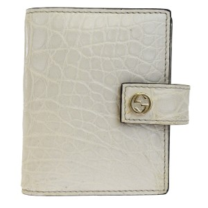 Gucci Authentic GUCCI Logos Bifold Card Case Crocodile Leather Ivory Italy