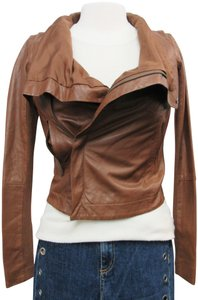 VEDA Convertible Vest Zip-up Brown Leather Jacket