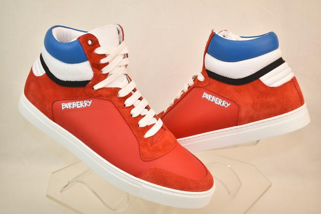 Item - Red Reeth Bright Leather Suede Logo Hi Top Sneakers 41 Us 8 Italy Shoes