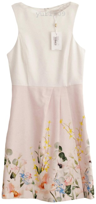 Item - Nude Pink Kalla Elegance-print Crepe and Cotton Mid-length Work/Office Dress Size 8 (M)
