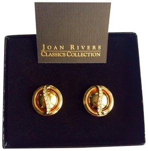 Joan Rivers PAVÉ CAGED GOLD INTERCHANGEABLE CABOCHON EARRINGS