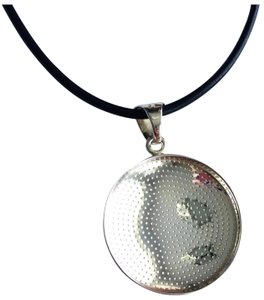 Silpada 1123 Retired sterling silver Pendant on black leather cord necklace