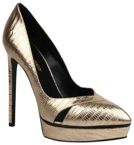 Saint Laurent Pale Classic Lizard Embossed Gold Platforms