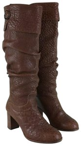 Fendi Leather Knee High Brown Boots