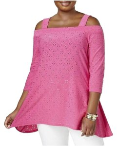 NY Collection Eyelet Knit 3/4 Sleeve Square Neck Straps Top Fuchsia