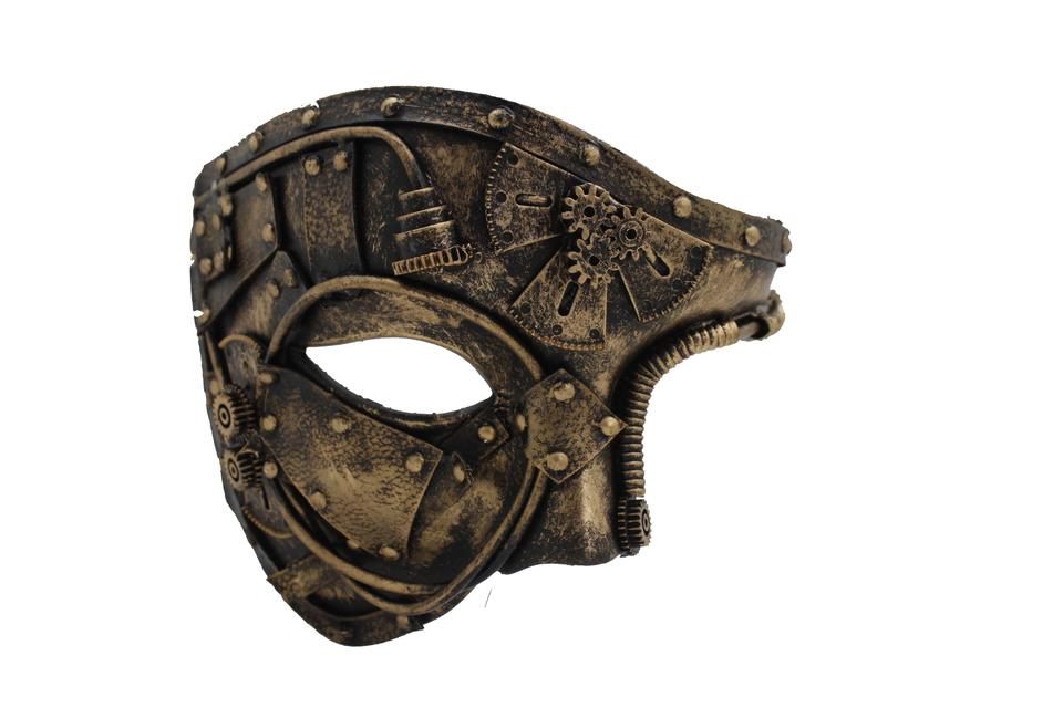 Gold Men Women Rave Future Half Face Mask Steampunk Black Halloween Costume  63% off retail
