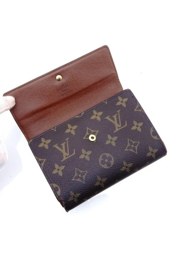 Louis Vuitton Continental Monogram Canvas Leather Clutch Trifold Wallet Image 3