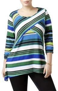 NY Collection 3/4 Sleeve Scoop Neck Striped Print Knit Top Multicolor