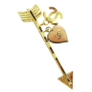 Chanel Authentic CHANEL CC Heart Arrow Hair Pin Gold-Tone