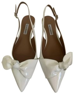 Tabitha Simmons Patent Leather Pointed Toe Slingback Bow White Flats