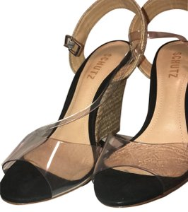 SCHUTZ natural wedge with clear straps Wedges