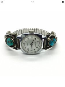 Timex NAVAJO ZUNI STERLING SILVER TURQUOISE LADIES WATCH