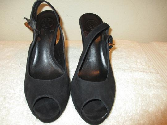 Tory Burch Black with gold Platforms Image 4