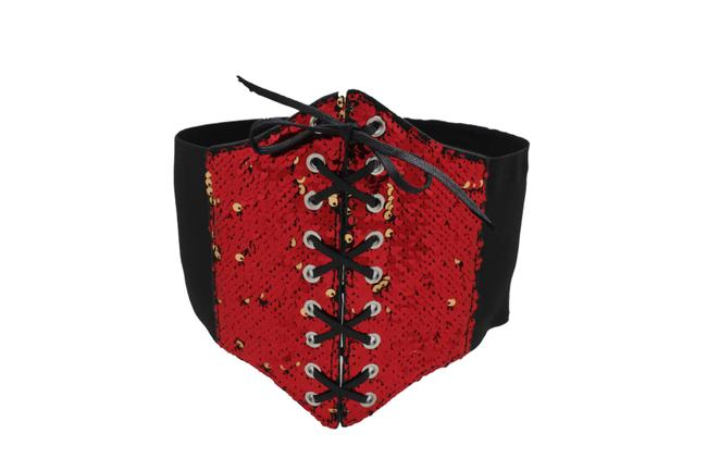 Item - Red Women Fashion Extra Wide Elastic Corset Gold Sequins Size S M Belt