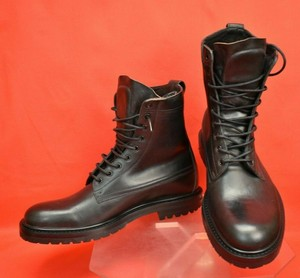 Burberry Black Alfred Leather Lettering Logo Lace Up Military Boots 45.5 Shoes