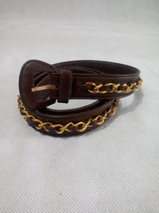 Chanel Chanel Brown Leather Gold Chain Belt Vintage