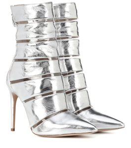 Alexandre Birman Pointed Toe Leather Silver Boots